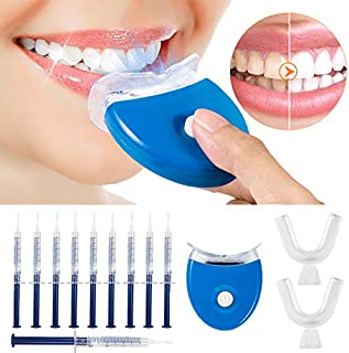 Teeth Whitening Kit, MayBeau Teeth Whitening Gel Kit Set With Led Accelerator Light, 10 Of 3 ml Gel Syringes, 2 Of Tray and Case for Tooth Whitening, Reusable For Office Home Teens