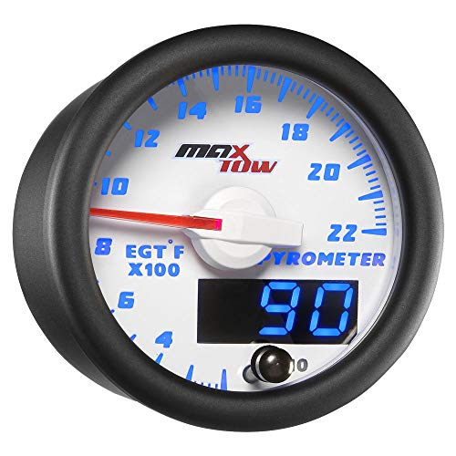 MaxTow Double Vision 2200 F Pyrometer Exhaust Gas Temperature EGT Gauge Kit - Includes Type K Probe - White Gauge Face - Blue LED Dial - Analog & Digital Readouts - for Gas Trucks - 2-1/16
