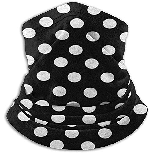 Linger In Polka Dot Designs White Polka Dots on Classy Black Seamless Neck Gaiter Scarf Bandana Face Mask Unisex