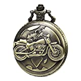 MORFONG Men's Women Quartz Pocket Watch Motorbike 3D Pattern Bronze Case Vintage Fob Watches with Gift Box