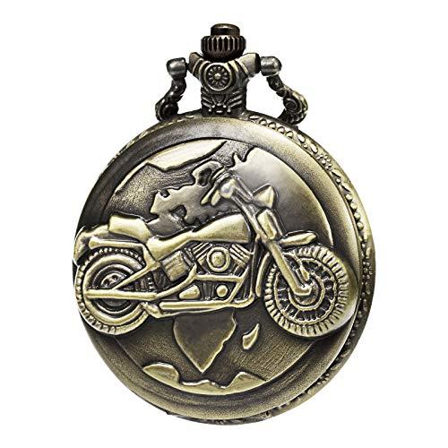 MORFONG heren dames kwarts zakhorloge 3D motorfiets patroon met ketting en geschenkdoos brons