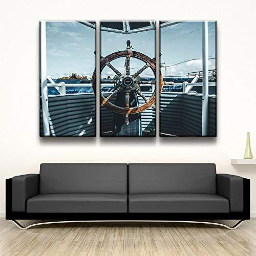 QWASD Cuadro sobre Lienzo 3 Piezas Volante De Barco Cuadros En Lienzo 3 Hojas Pintura De Arte De Pared Modular De 3 Piezas De La Sala Dormitorio De Estar-50X70Cmx3 Piezas