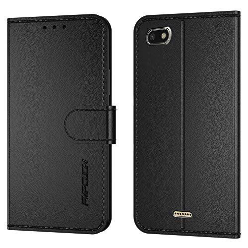 FMPCUON Handyhülle Kompatibel mit Xiaomi Redmi 6A(Neueste),Premium Leder Flip Schutzhülle Tasche Hülle Brieftasche Etui Hülle für Xiaomi Redmi 6A(5,45 Zoll),Schwarz