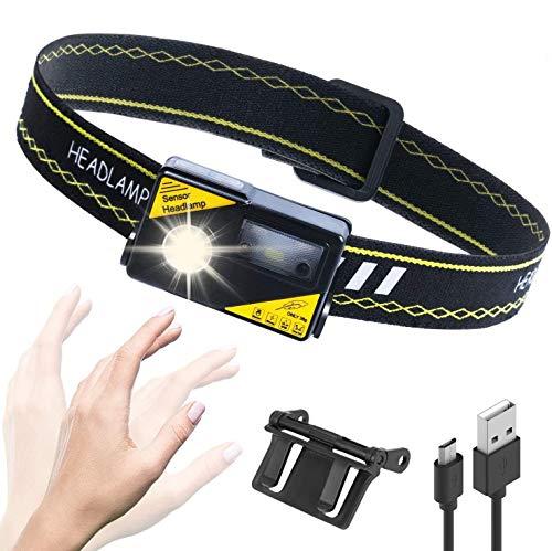 LUXJUMPER Linterna Frontal, Sensor de Linterna, Recargable por USB, Superbrillante, 1000 lúmenes, Linterna LED COB de 62g, Ligero Impermeable para Camping, Pesca, Correr, Caza, Deportes Nocturnos