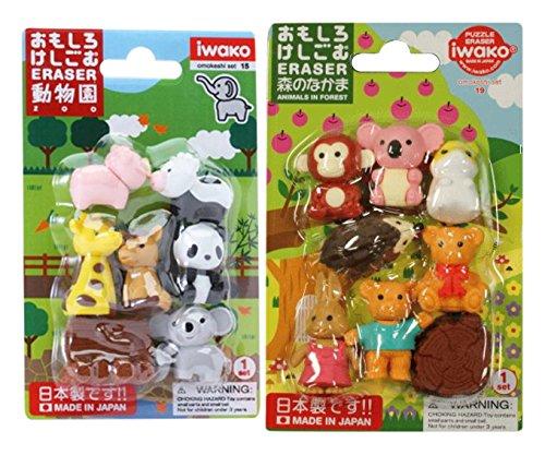 Iwako los Animales de Gomas de borrar / Parque zoológico japoneses, Animales Lindos, Safari Animales / Total 18 animales & 3 Parten Juego de Gomas de borrar Valor (Con Nuestra Tienda la Descripción del Producto Original)