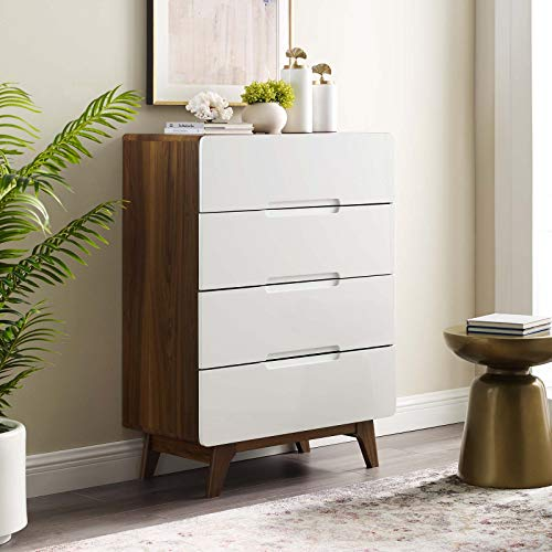 Modway Origin Contemporary Mid-Century Modern 4-Drawer Bedroom Chest in Walnut White