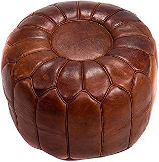 """Moroccan pouf leather Pouf Ottoman Luxury Pouf Brown Darker Leather Moroccan Pouf 100% Leather no Smell, Leather Pouf Ottoman Pouf Moroccan Leather Pouf 20"""" Diameter and 13"""" Height"""