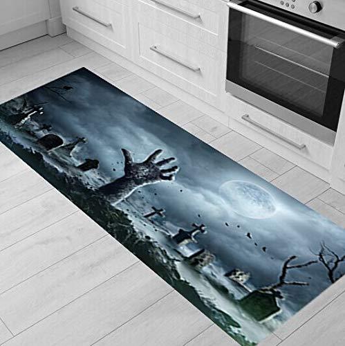 HLXX Kürbis Halloween Küchenmatte Teppich Anti- Rutsch-Türmatte Küchenteppich für Wohnzimmer Moon Night Bodenmatte A2 40x120cm