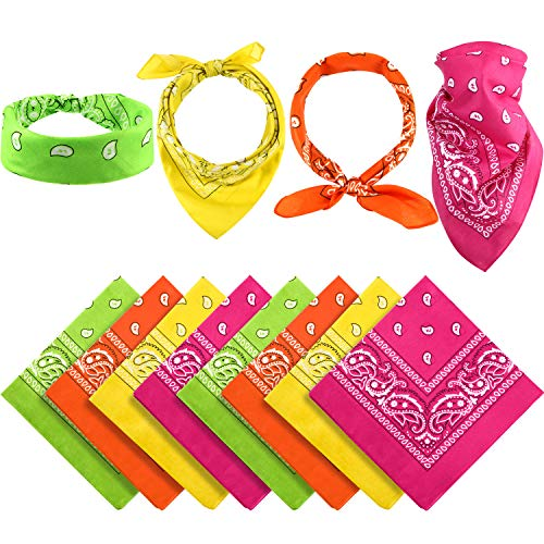 12 Pieces Paisley Bandanas Cowboy Bandana Unisex Print Head Wrap Scarf Wristband (Orange Yellow Green Rose red)
