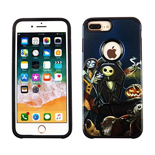 iPhone 8 Plus /7 Plus /6s Plus Case Nightmare Before Christmas 2 in 1 Armor Case with Flexible Shock Absorption Case & Nightmare Before Christmas Design Cover Hybrid Case