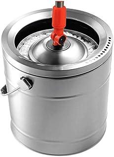モップヘッドホームロータリーモップフリー手洗いクリーニングツールモップ家庭用洗浄1つすべての鋼ステンレス鋼ロータリーモップバケットシングルバレル(サイズ:6モップヘッド)