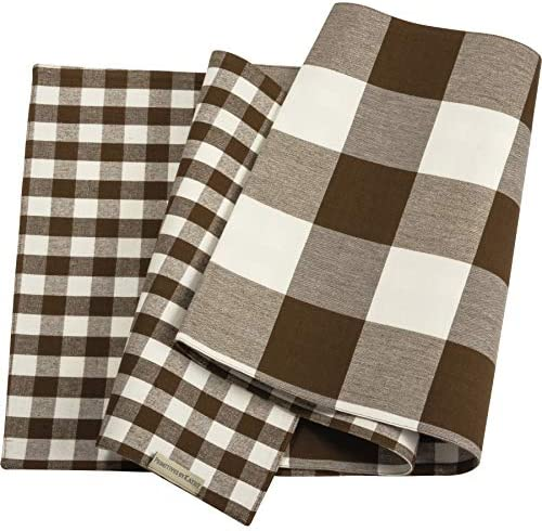 Primitives by Kathy Double Sided Table Runner Brown White Buffalo Check Plaid Design Cotton product image