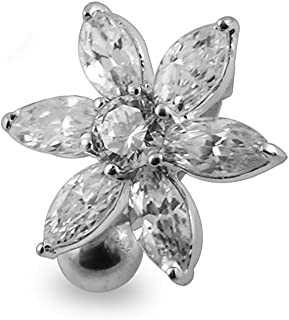 Fashion Flower Reverse Bar 925 Sterling Silver with Stainless Steel Belly Button Rings