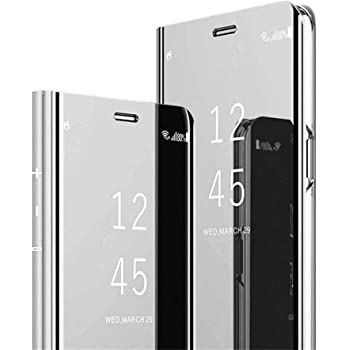 HAOYE Coque pour Huawei Nova 5T Bleu Violet Smart View Miroir Case Cuir Etui Flip Clair Anti-Empreintes Makeup Housse avec Fonction Stand