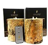 "2pc Luminara Birch BARK Flameless Candle 5"" in. Tall Wax Pillar Set 4"" in. Diameter w/Real Birch Wood | Bonus Remote Control Included"