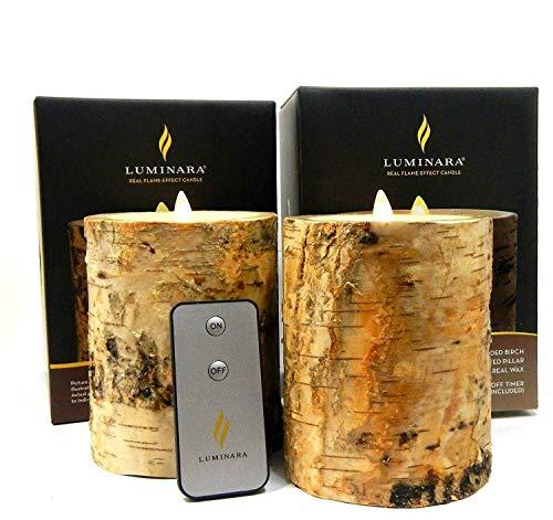 2pc Luminara Birch BARK Flameless Candle 5' in. Tall Wax Pillar Set 4' in. Diameter w/Real Birch Wood | Bonus Remote Control Included
