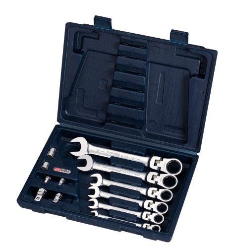 KS TOOLS 503.4867 Jeu de clés mixtes inclinable et verrouillable 12 piecs. 8 A 19 + 6 adaptateur