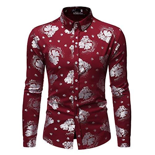 Camisa de Cuello Vuelto para Hombre Slim Regular Fit Fancy Floral Retro Casual Camisa de Manga Larga de un Solo Pecho Tops Large