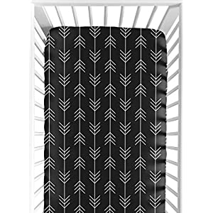 Sweet Jojo Designs Woodland Arrow Boy Fitted Crib Sheet Baby or Toddler Bed Nursery – Black and White Rustic Country Lumberjack