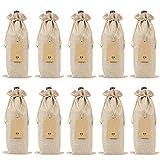 Katigan Bolsas de Vino de Arpillera Bolsas de Regalo de Vino con Cordones, Tapas de Botellas de Vino Reutilizables Individuales con Cuerdas y Etiquetas (10 Piezas)