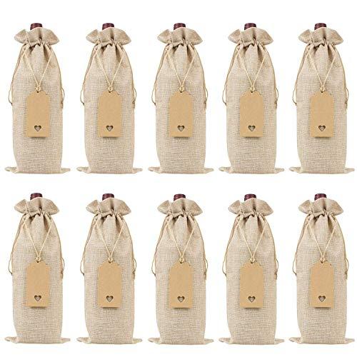 Kaxofang Bolsas de Vino de Arpillera Bolsas de Regalo de Vino con Cordones, Tapas de Botellas de Vino Reutilizables Individuales con Cuerdas y Etiquetas (10 Piezas)