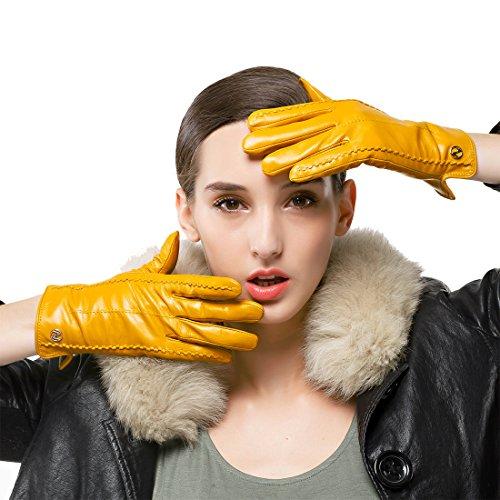 guanti gialli Nappaglo donne classico vera nappa