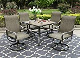 "Sophia & William Patio Dining Set, 1 Square 37""x 37"" Umbrella Table, 4 Swivel Chairs Furniture Set for Outdoor Garden Lawn Pool Metal Frame Easy to Care Weather Resistant"