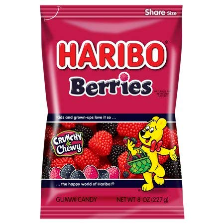 Haribo Gummi Candy, Berries, 5 Ounce