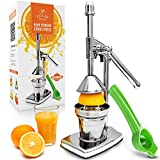 Zulay Citrus Juice Press - Small Orange Squeezer and Manual Juice Press with Bonus Metal Lime Squeezer, Premium Heavy Duty Mini Orange Juice Press, Lemon Squeezer & Lime Squeezer Stand