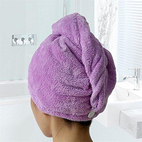 junchen femmes bain Super Absorbent rapide à séchage rapide serviette de bain microfibre cheveux séchage Casquette Salon Serviette 25 x 65 cm, violet, 25 x 65 cm, la Chine