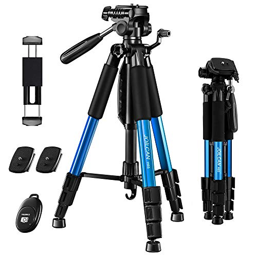 "JOILCAN 65"" Camera/Tablet/Phone Tripod, Aluminum Lightweight Tripod Stand 11 lbs Load with Universal Phone/Tablet Mount,2PC Quick Plates for Cannon Nikon Camera,IPAD and iPhone(Blue)"