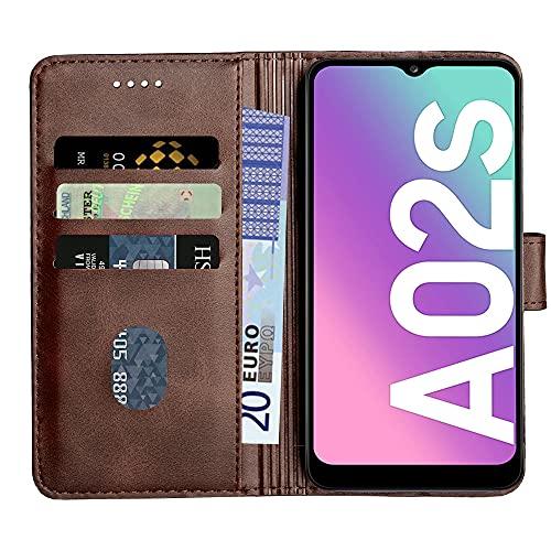 Baiyian Ledertasche Brieftasche Schutzhülle Flip Hülle für Samsung Galaxy A02s, Braun