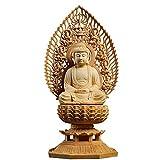 仏像 木彫り 置物 釈迦如来 TheChanger 仏壇仏像 祈る 厄除け 桧木 飛天光背 八角台座 (高さ28cm×巾14.5cm×奥行12cm)