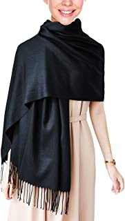 "Wapodeai Fashion Women's Cashmere Scarf, Upgrade Comfortable Pashmina Scarf, Four Seasons Apply Large Scarf 78.75""x27.6""  Black"