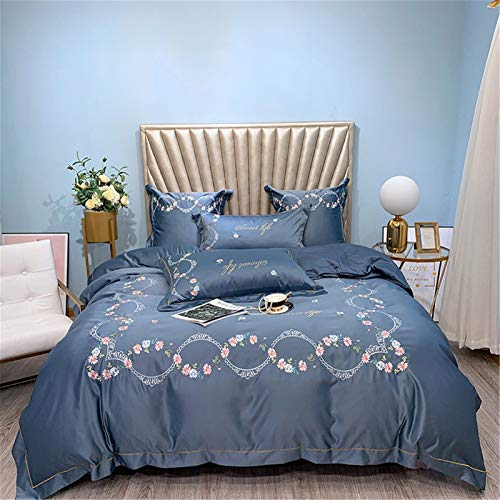 KORANGE Bedding Duvet Covers Bedding Cover Full Size Bedding Queen Bedding Silk Bed Sheets 4 Pieces Sets Washed Silk Cotton (Color : Navy blue, Size : Queen)