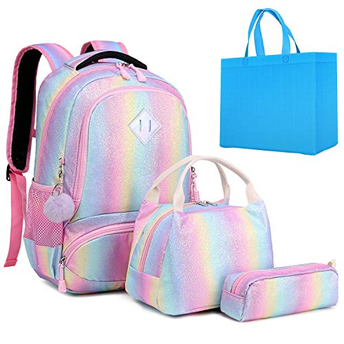 Girls Backpack Rainbow Glitter Kids School Bookbag 3 in 1 Set School Bag with Lunch Bag Pencil Case