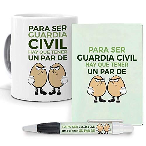 Pack Original y Personalizado para Regalo de Trabajos y Profesiones. para ser Guarda Civil Hay Que Tener un par de Huevos. Libreta, boligrafo y Taza Maxima Calidad.