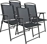VCM Set Gartenstuhl Stühle Stuhl Metall Textilene klappbar 4 Stühle: Anthrazit