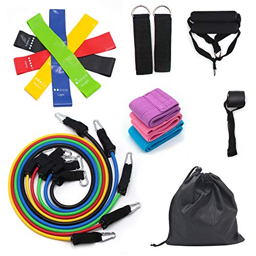 Astorn Resistance Bands Set (19pcs) for Beginners, Professionals & Everyone in Between. Exercise Bands with Handles, Booty Bands, Ankle Straps, Resistance Loop Bands, Door Anchor for Men and Women