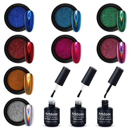 Artdone 8 jars holographic nail powder 1gram each,Chrome Nail Powder,with no wipe top coat,base coat and black color gel nail polish kit for nail art Rainbow Unicorn Mirror Effect.
