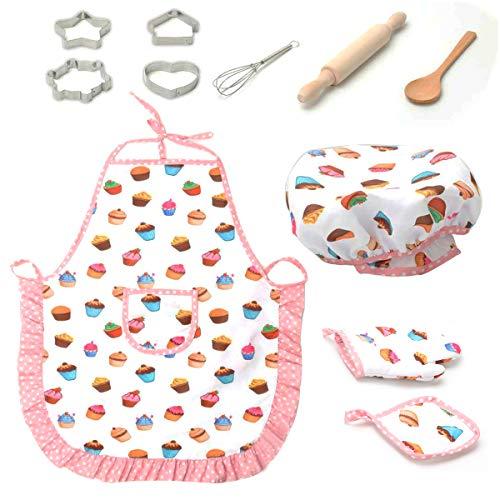 Rehomy Kinderen Cosplay Chef Set Diy Koken Bakpak Speelgoed Set Spelen Schort Handschoenen Hoed Cakevorm 11St