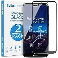 Protector Pantalla Huawei P20 Lite, Beikell [2 Piezas] Cobertura Completa 9H Dureza Cristal Vidrio Templado Huawei P20 Lite Sin Burbujas Resistente a Arañazos con Tela de Microfibra