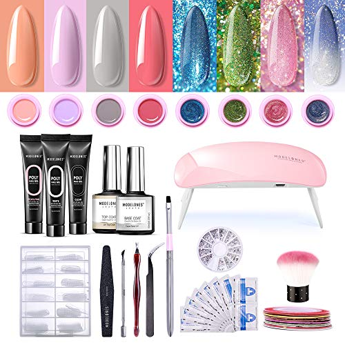 Modelones Poly Nail Gel Kit Glitter Gel Starter Kit with UV led light,7 Colors and 1 Color Changing Pot Gel,Manicure Tools,Striping Tape Lines, Nail Art Rhinestone, All-In-One Salon Kit In Gift Box
