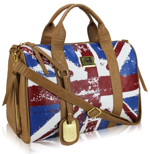 Fashion Only Sac à main tendance Simili Cuir - Anse + Bandoulière - Motif Drapeau Anglais UK United Kingdom Façon Vintage - Coloris Marron Tan - 41 cm x 33 cm