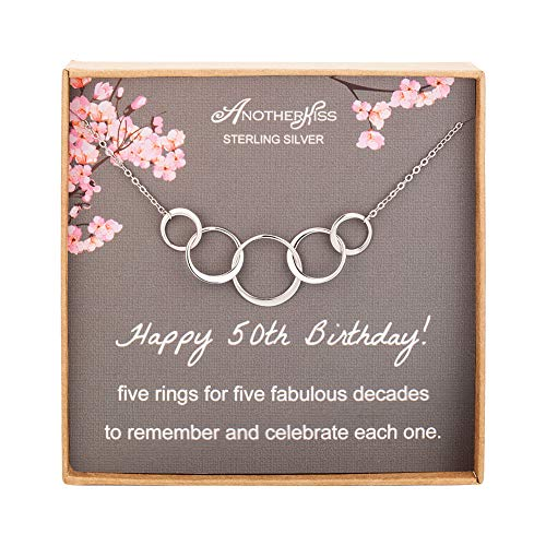 50th Birthday Gifts for Women, Sterling Silver 5 Circle Necklace for Her, 5 Rings for 5 Decades Jewelry Gift Ideas