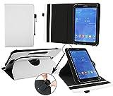 emartbuy® Brondi Surfing Tab 1 7.85 Zoll Tablet Universal (7-8 Zoll) Weiß Premium PU Leder 360GradrotierendeStandFolioGeldbörseTascheHülle + Weiß Eingabestift
