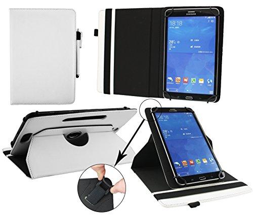 Emartbuy® Blaupunkt Polaris 808 Tablet PC 8 Zoll Universal (7-8 Zoll) Weiß Premium PU Leder 360GradrotierendeStandFolioGeldbörseTascheHülle + Weiß Eingabestift