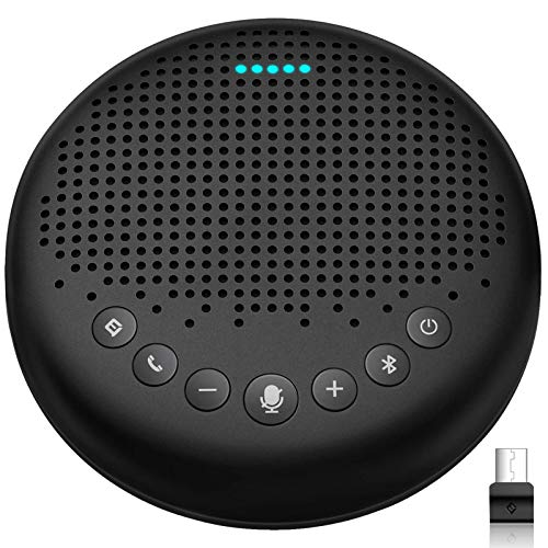 Bluetooth Speakerphone – eMeet Luna Computer Speakers with Microphone w/Enhanced Noise Reduction Algorithm, Daisy Chain, w/Dongle USB Speakerphone for Home Office, 360° Voice Pickup for 8 People Black