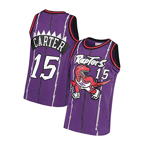 Carter Men's Basketball Jersey Raptors 15#, Retro Embroidery Sleeveless Vests, Summer Cool Breathable Mesh T-Shirts-Purple A-M