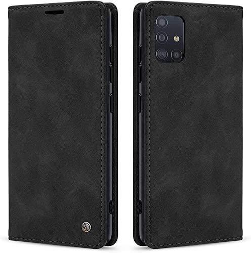 AZONE Handyhülle für Samsung Galaxy A41 Hülle- Premium Leder Flip Schutzhülle Ledertasche Etui Lederhülle - (Schwarz)